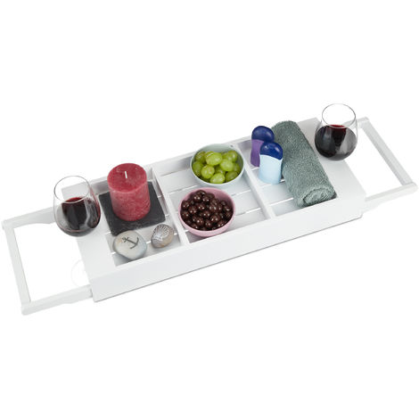 Relaxdays Extendable Bathtub Cady, Bamboo Bathroom Tray, Compartments for Soap, Sponge, Phone, Wine Glass Holder, White