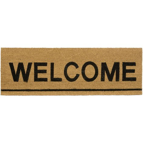 "Relaxdays Extra-Long Coir Doormat 40 x 120 cm ""WELCOME"" Mat for Wide Doors Indoors and Outdoors, Anti-Slip Rubber Underside Floor Mat, Natural"