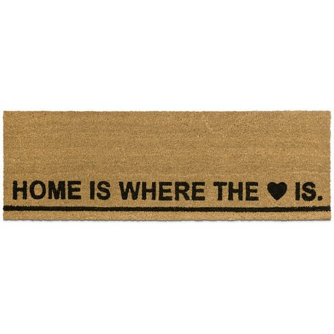 "Relaxdays Extra-Long Coir Doormat 40 x 120 cm""Home is Where the Heart is"" Welcome Mat for Indoors and Outdoors, Anti-Slip Coconut Fibre Floor Mat, Natural"