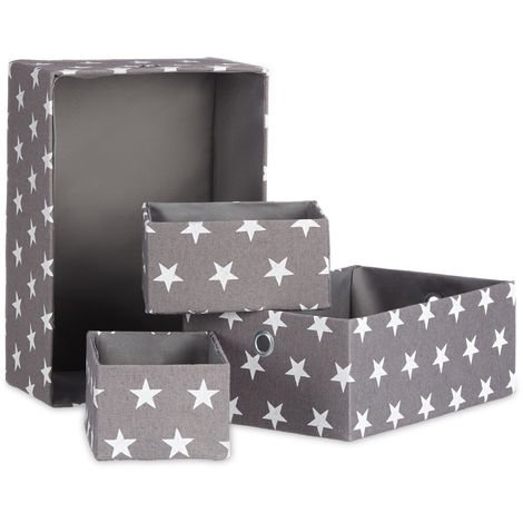 Relaxdays Fabric Baskets Set of 4, Shelf Storage Boxes, Stackable, Non-Lidded, H x W x D app. 16 x 25.5 x 36 cm, Grey