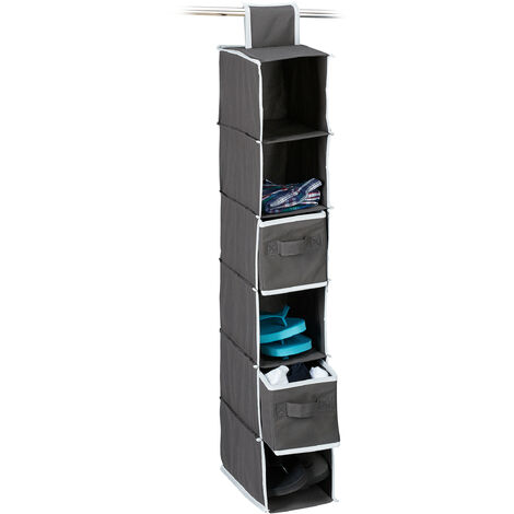 Relaxdays Fabric Hanging Shelves, 6 Compartments with 2 Drawers for the Closet, Foldable, Size: 82 x 14.5 x 30 cm, Anthracite