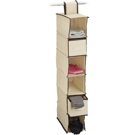 Relaxdays Fabric Hanging Shelves, 6 Compartments with 2 Drawers for the Closet, Foldable, Size: 82 x 14.5 x 30 cm, Beige