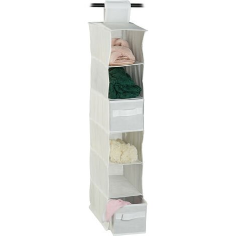 Relaxdays Fabric Hanging Shelves, 6 Compartments with 2 Drawers for the Closet, Foldable, Size: 82 x 14.5 x 30 cm, Various Colours