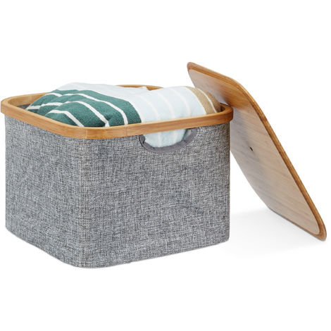 Relaxdays Fabric Storage Basket, Grey Laundry Hamper, Square Folding Shelf Bin, Lidded, HxWxD: 25 x 33 x 33 cm, Grey