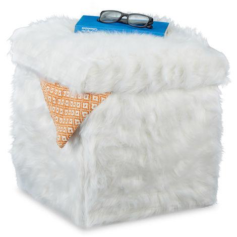 Relaxdays Faux Fur Cube Seat, Folding, Plush, Storage Ottoman, 40 L, Box HxWxD: 39 x 38 x 38 cm, White