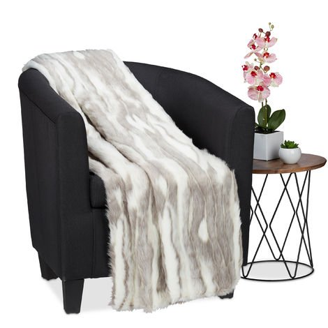 Relaxdays Faux Fur Cuddle Blankie, Warm and Soft Couch Throw, Washable, 150x200cm, Grey-White