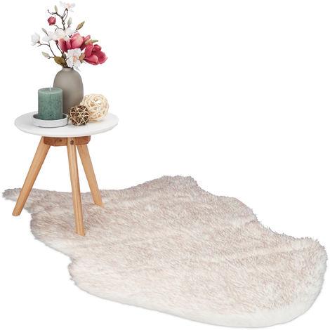 Relaxdays Faux Fur Rug, 70x120 cm, Elegant Artificial Lamb Fur Bedside Rug, Home Carpet, White/Rosè