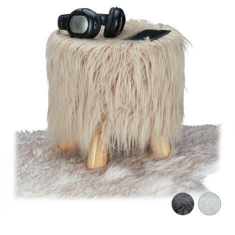 Relaxdays Faux Fur Stool, Fluffy, 4 Wooden Legs, Padded Footstool, Round, Decorative Stand HxD: 31x31 cm, Brown