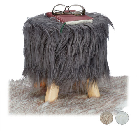 Relaxdays Faux Fur Stool, Fluffy, 4 Wooden Legs, Padded Footstool, Round, Decorative Stand HxD: 31x31 cm, Grey