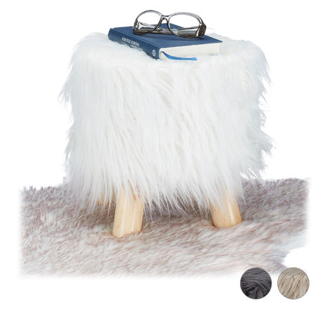 Relaxdays Faux Fur Stool, Fluffy, 4 Wooden Legs, Padded Footstool, Round, Decorative Stand HxD: 31x31 cm, White