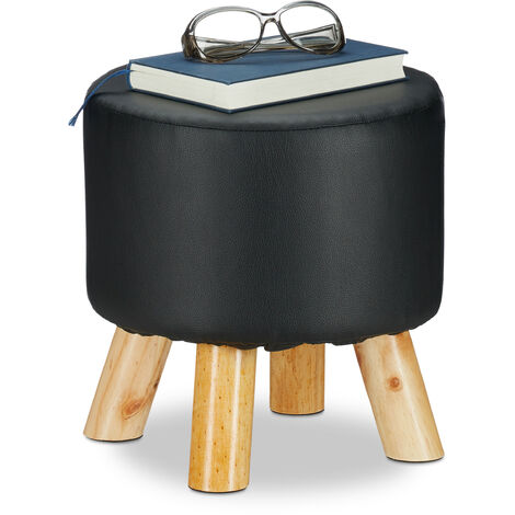 Relaxdays Faux Leather Stool, Padded, 4 Wooden Legs, Flat Footstool, Round Vanity Stand, H x D: 30 x 31 cm, Black