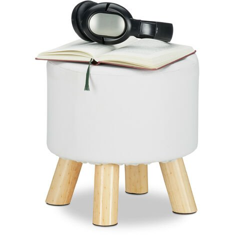 Relaxdays Faux Leather Stool, Padded, 4 Wooden Legs, Flat Footstool, Round Vanity Stand, H x D: 30 x 31 cm, White