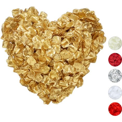 Relaxdays Faux Rose Petals Pack of 3000, Wedding Confetti, Valentine's Day & Anniversary, Artificial Flowers, Gold