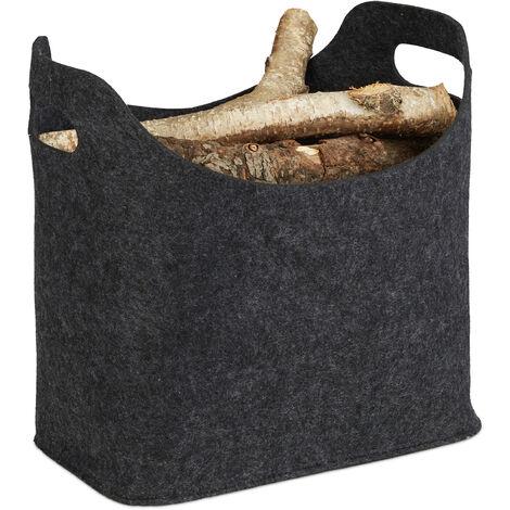 Relaxdays Felt Firewood Basket, HxWxD: 39.5 x 40 x 23 cm, 2 Handles, Foldable, Newspaper Holder, Dark Grey