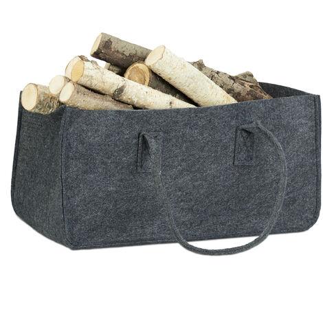 Relaxdays Felt Firewood Basket, Portable Magazine Holder, Wood Bin H x W x D: 25 x 25 x 50 cm, Anthracite