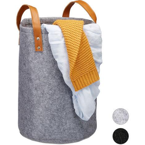 Relaxdays Felt Laundry Hamper, PU-Leather Handles, 28 L Storage Basket, Bathroom, HxD 45x30 cm, Anthracite