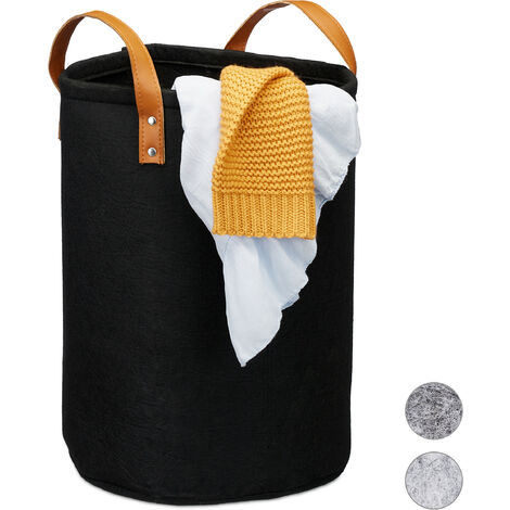 Relaxdays Felt Laundry Hamper, PU-Leather Handles, 28 L Storage Basket, Bathroom, HxD 45x30 cm, Black