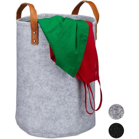 Relaxdays Felt Laundry Hamper, PU-Leather Handles, 28 L Storage Basket, Bathroom, HxD 45x30 cm, Grey