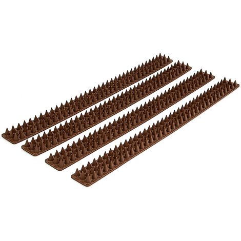 Relaxdays Fence, Wall, Railing Spikes Anti Bird Spikes Bird Control Pigeon Control Pigeon Spikes 3 Rows, 1.7 x 4.2 x 196 cm, 4 Panels Included, Plastic, Brown