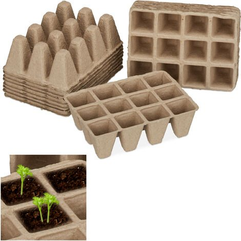 Relaxdays Fibre Plant Pots for Seeds, Seedlings & Cuttings, Pack of 204, Biodegradable, Square, Cellulose, 5 cm, Beige