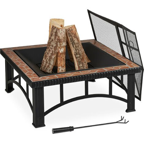 Relaxdays fire pit, spark guard & poker, metal frame and stone detail, garden & patio, 76.5 x 76.5 x 53 cm, black/brown