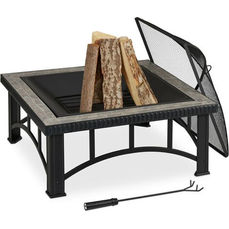 Relaxdays fire pit, spark guard & poker, metal frame and stone detail, garden & patio, 76.5 x 76.5 x 54 cm, black/grey