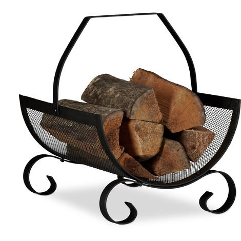 Relaxdays Firewood Basket, Large Fireplace Wood Cradle, Metal Log Holder, H x W x D 40 x 33 x 38 cm, Black