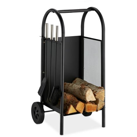 Relaxdays Firewood Cart with Companion Tools, Steel Holder, 3-Piece Tool Set, Shovel, Broom & Poker, Black