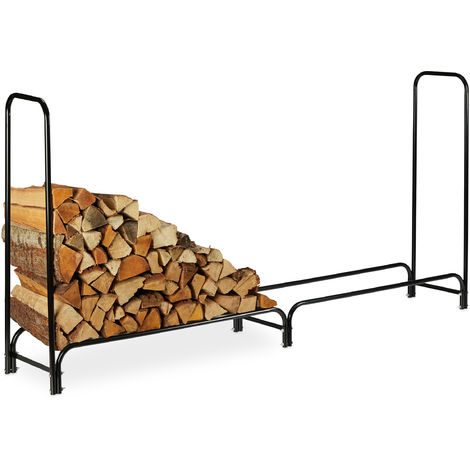 Relaxdays Firewood Rack, Extra Wide, Metal Wood Rack, HWD 122 x 245 x 40cm, Black