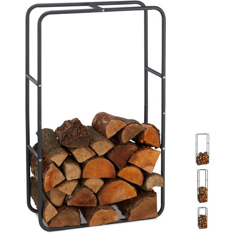 Relaxdays Firewood Rack, Log Stacking Aid, Steel, For In- and Outdoor Use, Wood Pile Shelf, H x W 100 x 60 cm, Anthracite