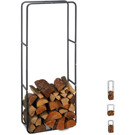 Relaxdays Firewood Rack, Log Stacking Aid, Steel, For In- and Outdoor Use, Wood Pile Shelf, H x W 150 x 60 cm, Anthracite