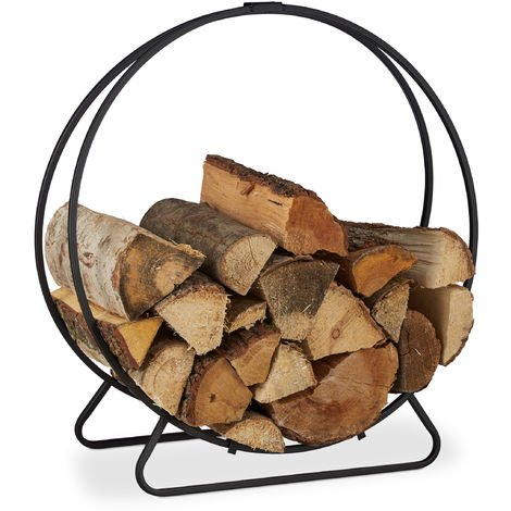 Relaxdays Firewood Rack, Round Log Cradle, Stacking Aid, Steel, Indoor Use, HxWxD 65x61x26 cm, Black