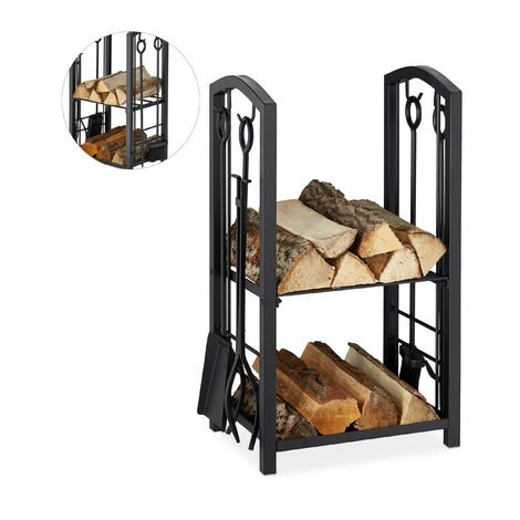 Relaxdays Firewood Rack with Companion Tools, 2 Tiers, Steel, 4-Piece Accessory Set, Shovel, Broom, Tongs & Poker, Black