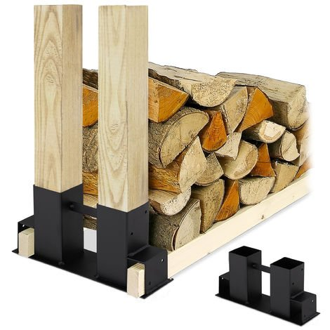 Relaxdays Firewood Stacking Aid Set of 2, DIY Wood Rack for 2x4s, Storage Stand, Coated Steel, Black