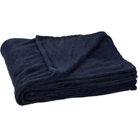 Relaxdays Fleece Blanket, Large Throw, Wash at 30°C, Dryer-Safe, HxWxD: 1 x 150 x 200 cm, Dark Blue