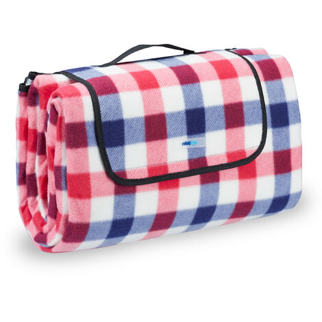 Relaxdays Fleece Picnic Blanket, Waterproof Beach Rug, Insulated, With Handle, XXL 200x200cm, Chequered, Red-Blue