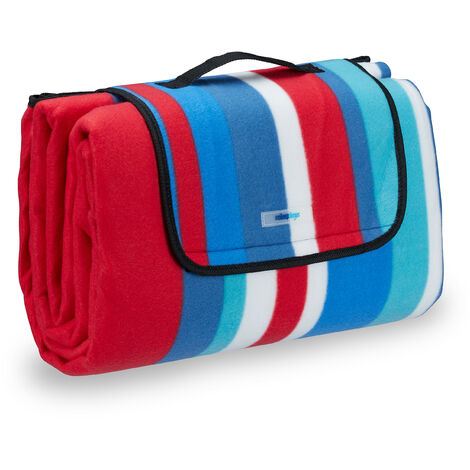 Relaxdays Fleece Picnic Blanket, Waterproof Beach Rug, Insulated, With Handle, XXL 200x200cm, Striped, Red-Blue