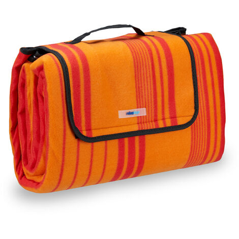 Relaxdays Fleece Picnic Blanket, Waterproof Beach Rug, Insulated, With Handle, XXL 200x200cm, Striped, Red-Orange
