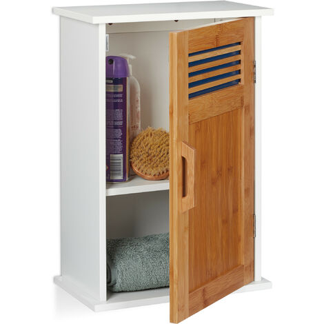 Relaxdays Floating Bathroom Cabinet, WC, Hanging, MDF, Bamboo, Door, 2-Tier, 51.5 x 35 x 20 cm, White-Natural