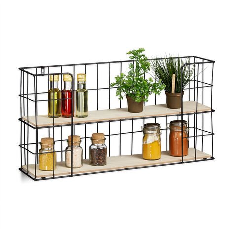 Relaxdays Floating Shelf, 2-Tier Spice Rack, Hanging Wall Shelving for Living Room, Vintage, MDF & Metal, Black/Natural