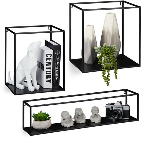 Relaxdays Floating Shelf, 3 Pieces, Black, Metal, Iron, Wall Rack, Decoration, Geometric Form, Different Sizes, Black
