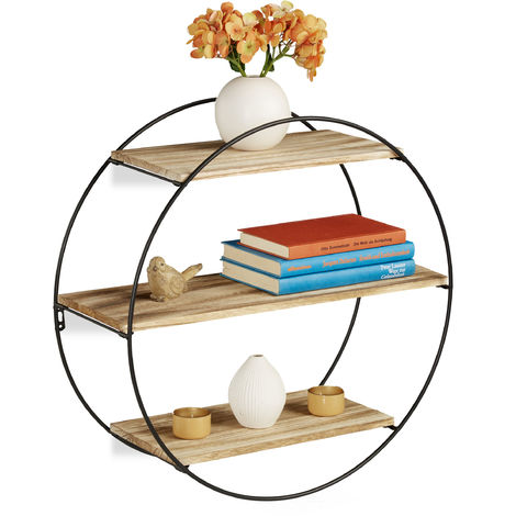 Relaxdays Floating Shelf, Black, Iron, 3 Tiers, Modern Decoration, Round, Vintage, D: 50 cm, Black & Natural
