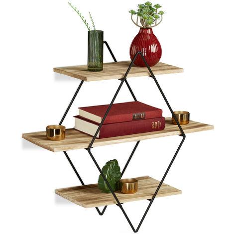 Relaxdays Floating Shelf, Black, Iron, 3 Tiers, Wall Rack, Modern Decoration, Diamond Shape, HWD : 49 x 50 x 19.5 cm