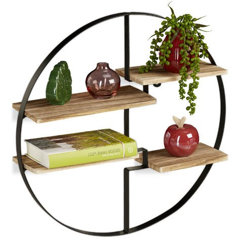 Relaxdays Floating Shelf, Black, Iron, 4 Tiers, Modern Decoration, Round, Vintage, D: 50.5 cm, Black&natural