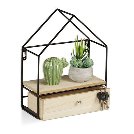 Relaxdays Floating Shelf, House-Shaped, Drawer, Wall Decoration, Wooden & Metallic, H x W x D: 32x25.5x12 cm, Natural