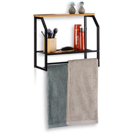 Relaxdays Floating Wall Shelf with Towel Rail, Iron Kitchen or Bathroom Rack, 2 Tiers, H x W x D: 41x45x23cm, Black