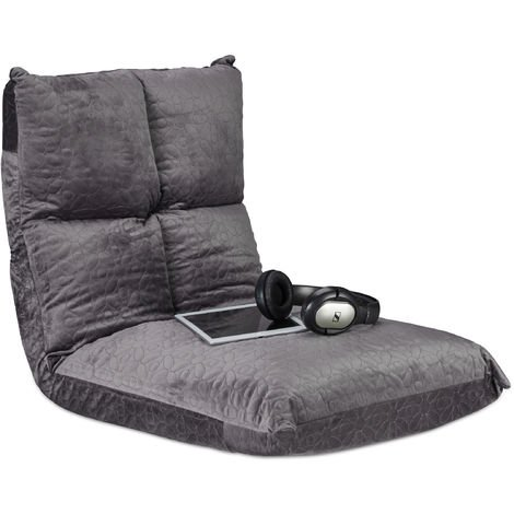 Relaxdays Floor Chair with Backrest, 6 Positionable Recliner, Gamer Seating, Kids Lounger, Up To 100 kg, Grey