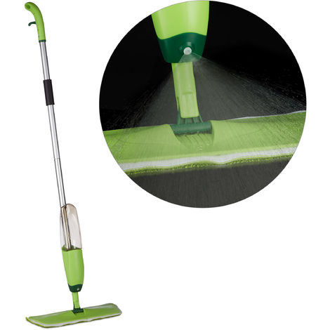 Relaxdays Floor Spray Mop, Removable Cloth & Tank, Water Spraying Cleaner, Sweeper HxWxD: 130x40x14 cm, Green/Silver