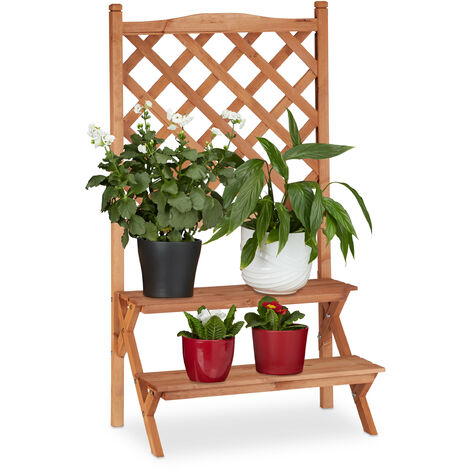Relaxdays Flower Display Rack with Trellis, 2-Tiers For Flower Pots and other Plants, Fir Wood, HWD: 110x61x40, Natural