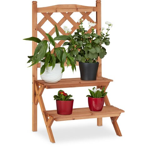 Relaxdays Flower Display Rack with Trellis, 2-Tiers For Flower Pots and other Plants, Fir Wood, HWD: 89x51x40, Natural